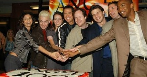 Cast of Angel with creator Joss Whedon at the party for the 100th episode