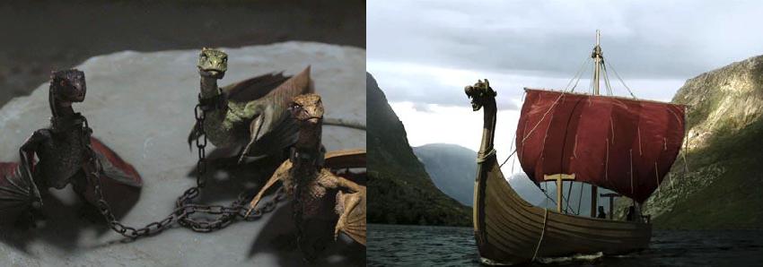 dragons game of thrones viking ship dragon