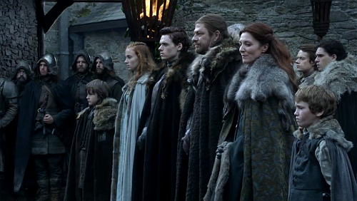 The Starks in the Game of Thrones pilot, Winter is Coming