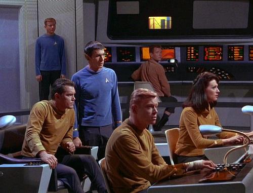 Bridge crew of the original Star Trek pilot, The Cage