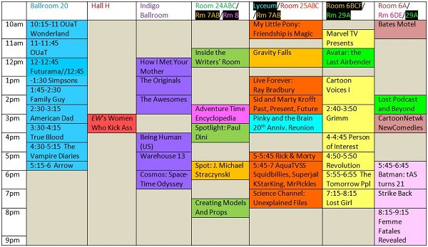 Scheduling grid for SDCC 2013 TV-related panels on Saturday