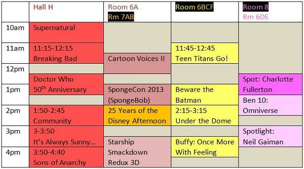 Scheduling grid for SDCC 2013 TV-related panels on Sunday
