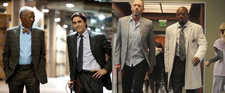 Morgan Freeman & Christian Bale in The Dark Knight Rises (2012) / Hugh Laurie & Omar Epps in House M.D (2004)