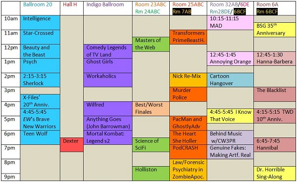 Scheduling grid for SDCC 2013 TV-related panels on Thursday