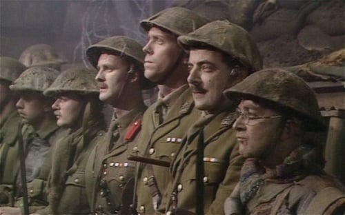 "The men prepare to charge, Blackadder finale, ""Goodbyeee"""