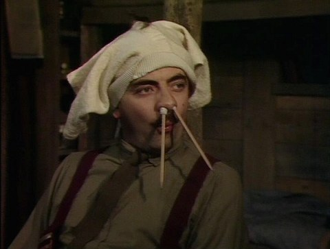 "Rowan Atkinson as Captain Blackadder in the Blackadder finale, ""Goodbyeee"""