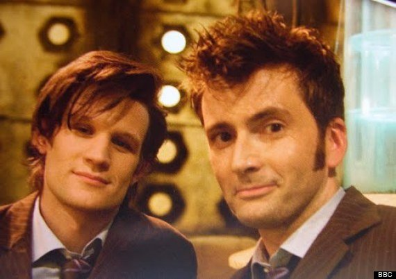 Matt Smith and David Tennant behind the scenes of the Doctor Who 50th Anniversary Special