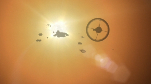 "The fleet flies into the Sun in the Battlestar Galactica finale, ""Daybreak"""