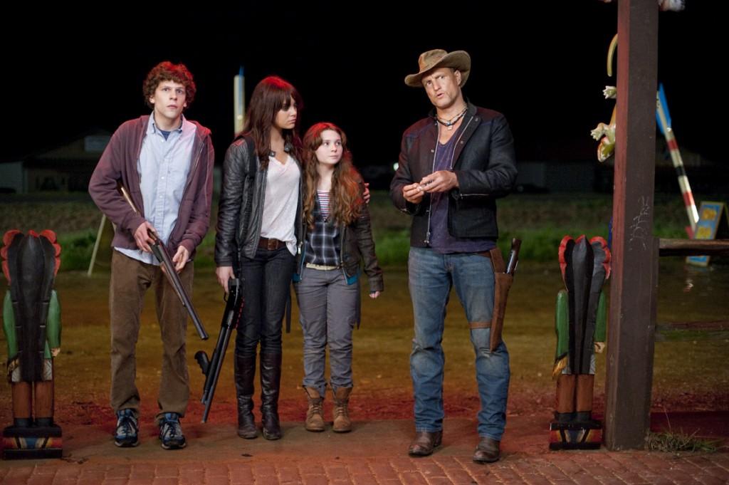 Jesse Eisenberg, Emma Stone, Abigail Breslin & Woody Harrelson in Zombieland (2009)