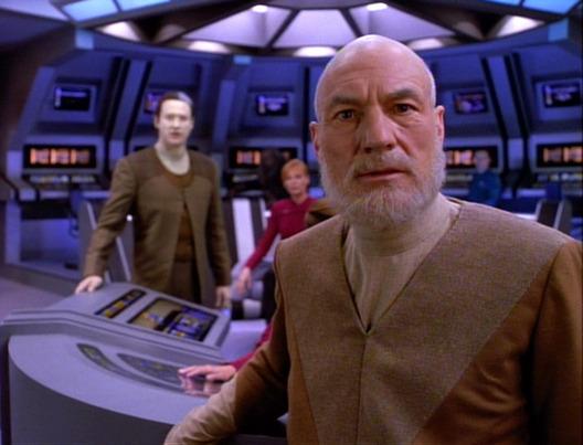 Brent Spiner, Gates McFadden & Patrick Stewart in Star Trek: TNG Ep 7.25 'All Things'