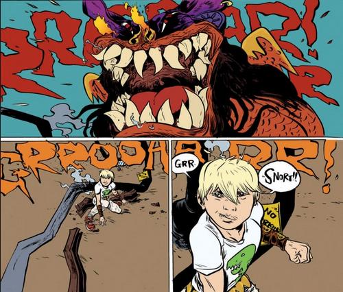 Paul Pope- Battling Boy vs. a monster