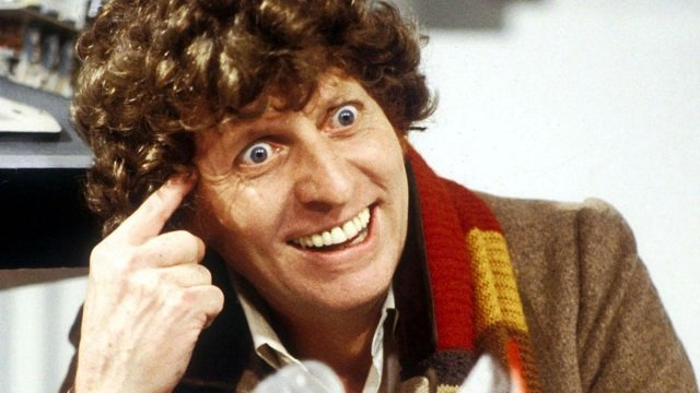 Tom Baker as the Fourth Doctor on Doctor Who