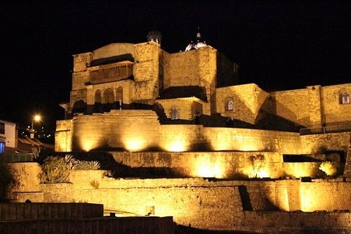 Qorikancha lit at night
