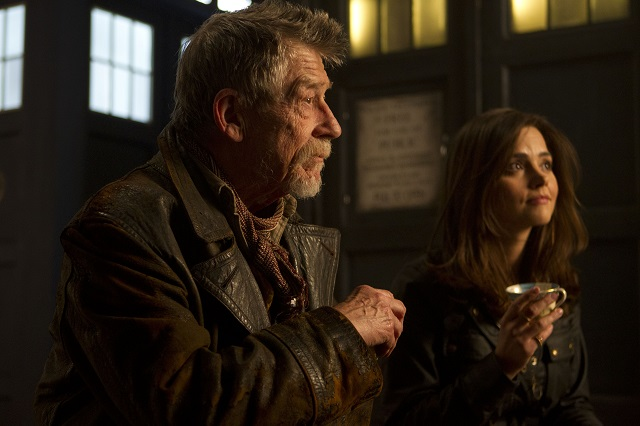 "John Hurt as the War Doctor and Jenna Coleman as Clara, ""The Day of the Doctor"""