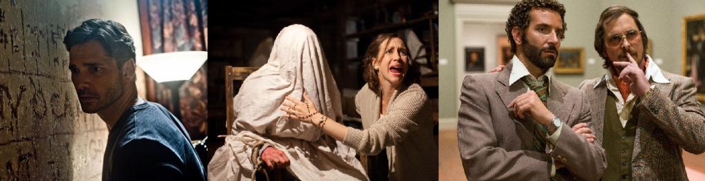 Eric Bana in Deliver Us From Evil (2014) / Lilli Taylor & Vera Farmiga in The Conjuring (2013) / Bradley Cooper & Christian Bale in American Hustle (2013)