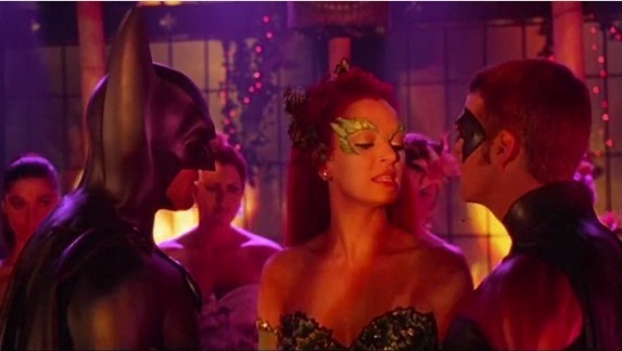 Batman and Robin fight over Uma Thurman's Poison Ivy, while all three duel for the role of 'Biggest Liability'