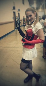 One of the vendors, dressed as Harley Quinn