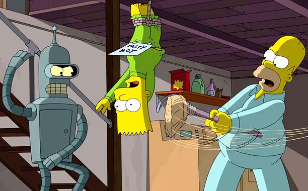 Simpsons Futurama clip -- Screengrab from exclusive EW.com clip.