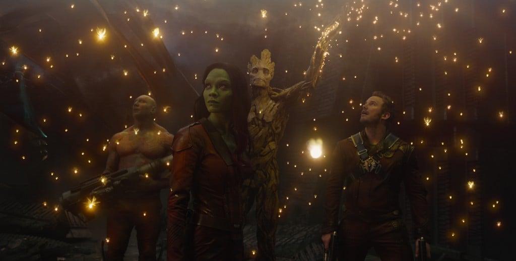 Dave Bautista, Zoe Saldana & Chris Pratt in Guardians of the Galaxy (2014)
