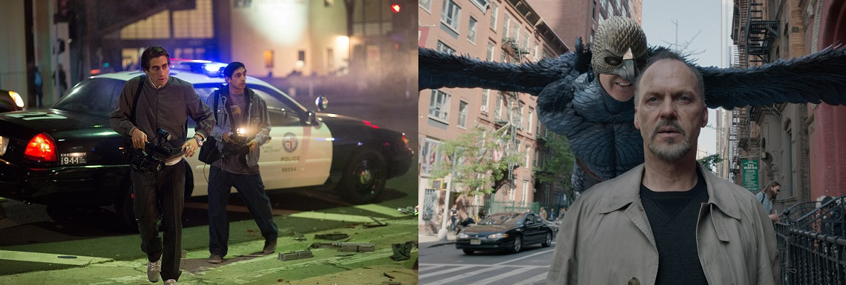 Jake Gyllenhaal & Riz Ahmed in Nightcrawler (2014) / Michael Keaton in Birdman (2014)
