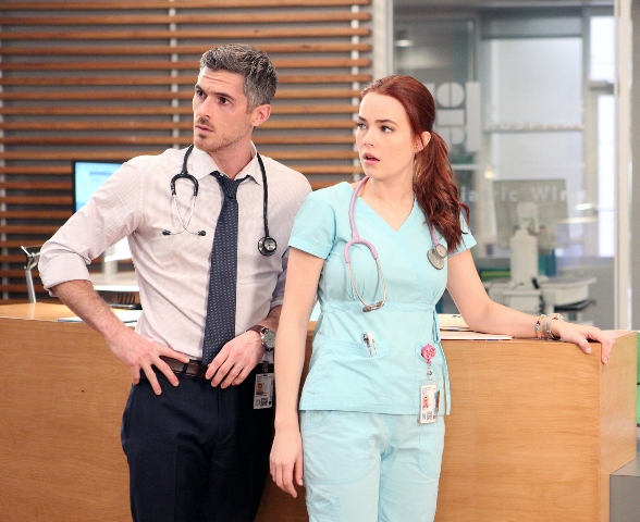 "RED BAND SOCIETY: L-R: Dr. Adam McAndrew (Dave Annable) and Nurse Dobler (Rebecca Rittenhouse) in "" The Guilted Age"" episode of RED BAND SOCIETY airing Saturday, Jan. 31 (9:00-10:00 PM ET/ PT) on FOX. CR: Guy D'Amica / FOX. © 2014 Fox Broadcasting Co."