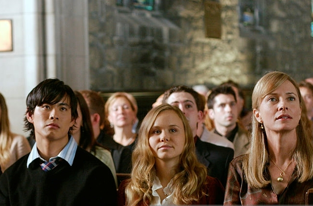 """THE BOOK OF DANIEL -- """"Temptation"""" Episode 1 -- Pictured: (l-r) Christian Campbell as Peter Webster, Ivan Shaw as Adam Webster, Alison Pill as Grace Webster, Suzanna Thompson as Judith Webster -- (Photo by: KC Bailey/NBC/NBCU Photo Bank)"""