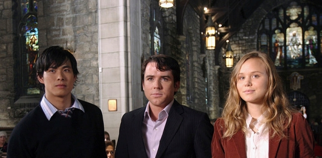 """THE BOOK OF DANIEL -- """"Temptation"""" Episode 1 -- Pictured: (l-r) Ivan Shaw as Adam Webster, Christian Campbell as Peter Webster, Alison Pill as Grace Webster -- (Photo by: KC Bailey/NBC/NBCU Photo Bank)"""