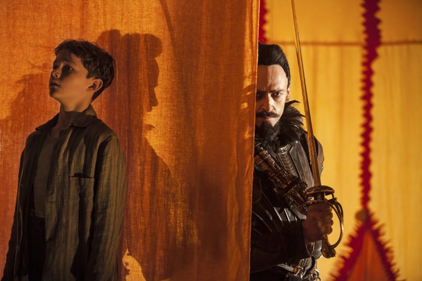 Levi Miller and Hugh Jackman in Pan