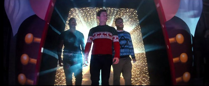 Seth Rogen, Joseph Gordon-Levitt, and Anthony Mackie in The Night Before