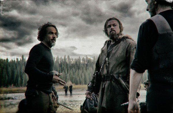 Alejando G. Inarritu and Leonardo DiCaprio on set of The Revenant