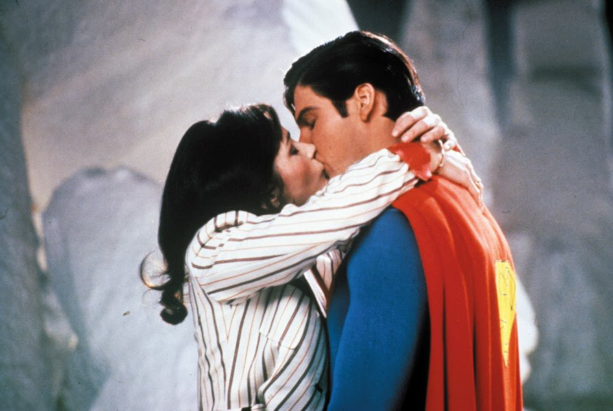 Christopher Reeve and Lois Lane as the Man of Steel an Lois Lane in the Fortress of Solitude in Superman 2 (1980)