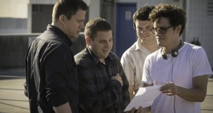 Phil Lord and Chris Miller with Jonah Hill and Channing Tatum on 22 Jump Street