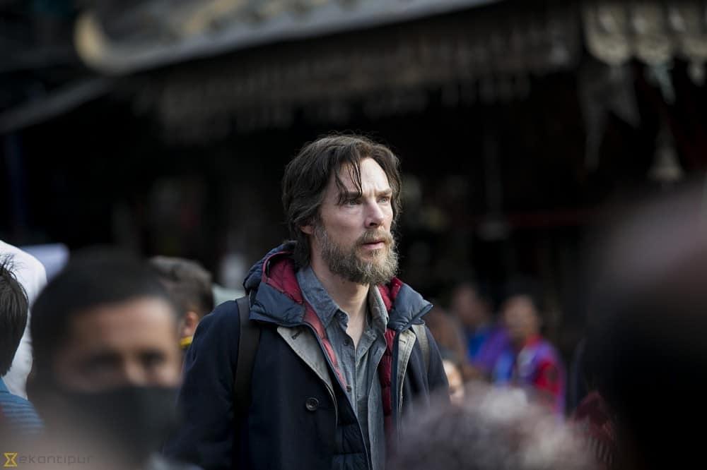 Benedict Cumberbatch on set as Doctor Strange