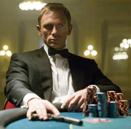 Daniel Craig in Casino Royale has the stone cold demeanor we all aspire to have when sitting down at the felt.