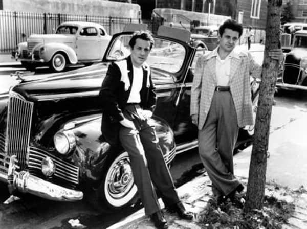 Robert De Niro and Joe Pesci on the set of Raging Bull.