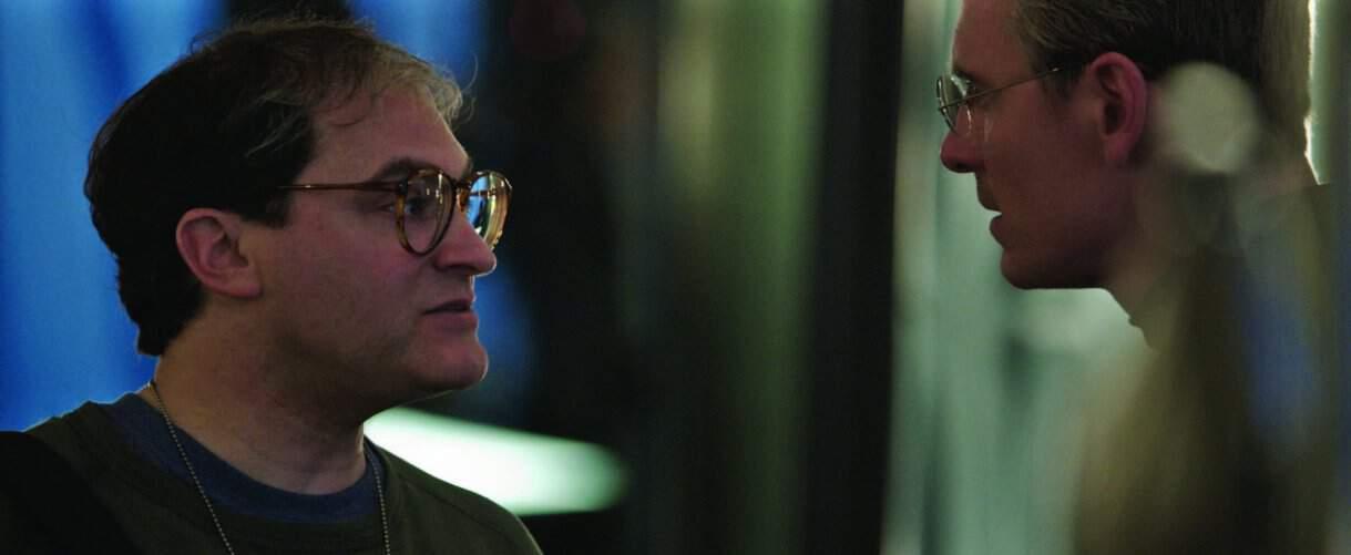 Michael Stuhlbarg and Michael Fassbender in Steve Jobs