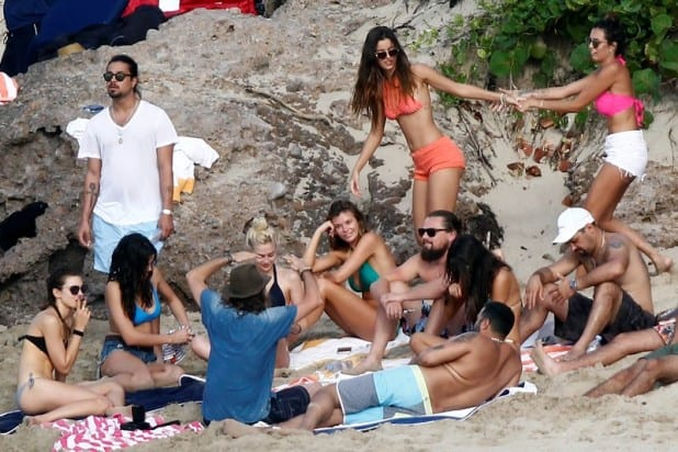 Leonardo DiCaprio partying with a bevy of bikini-clad beauties In St. Barth on NYE