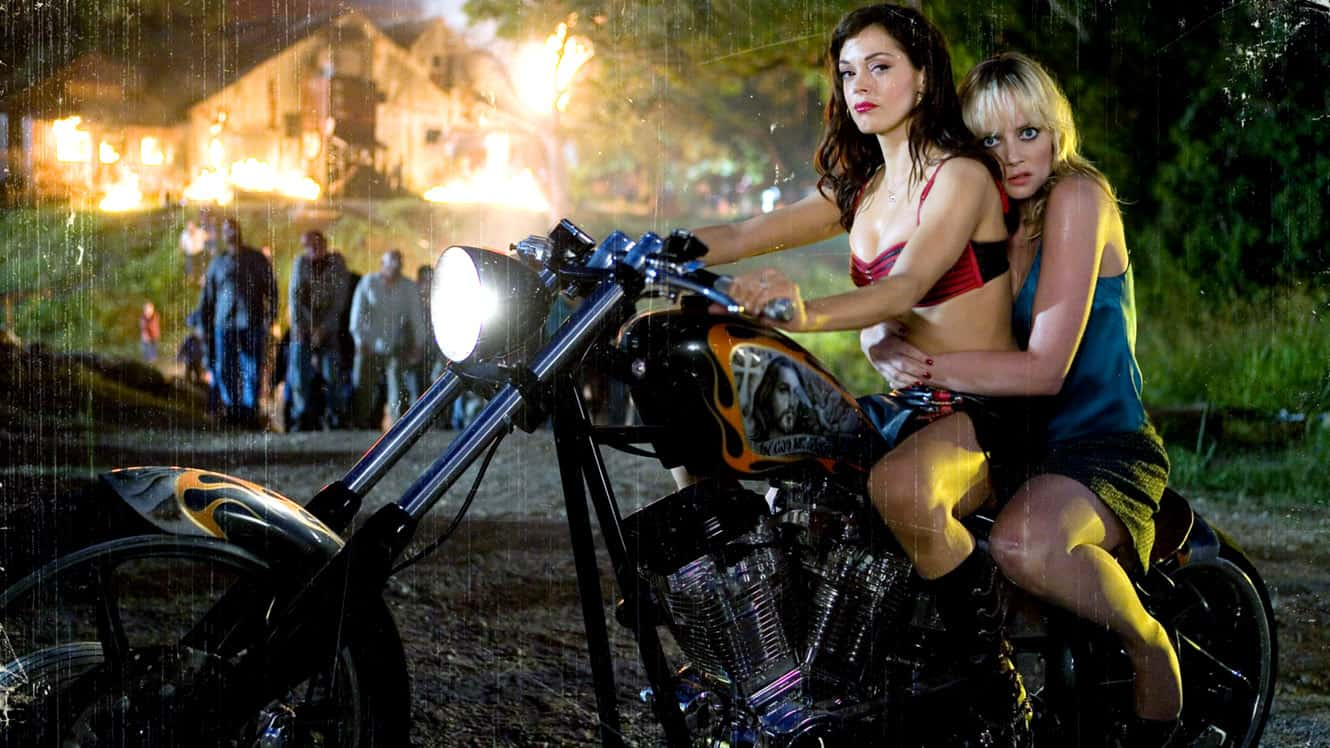 No Merchandising. Editorial Use Only. No Book Cover Usage Mandatory Credit: Photo by c.Weinstein/Everett / Rex Features (654577e) 'Grindhouse' - 'Planet Terror' segment - Rose McGowan and Marley Shelton 'Grindhouse' Film - 2007