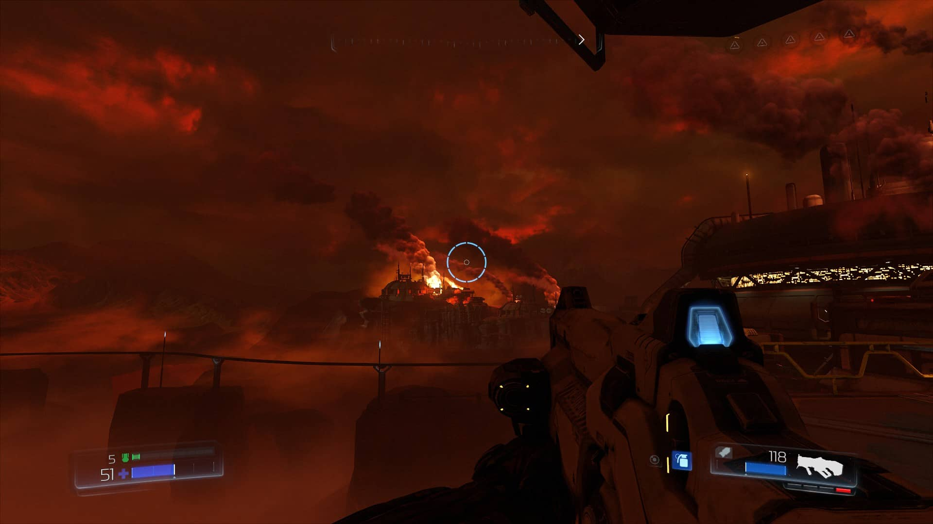 Doom's landscapes lend a weighty atmosphere.