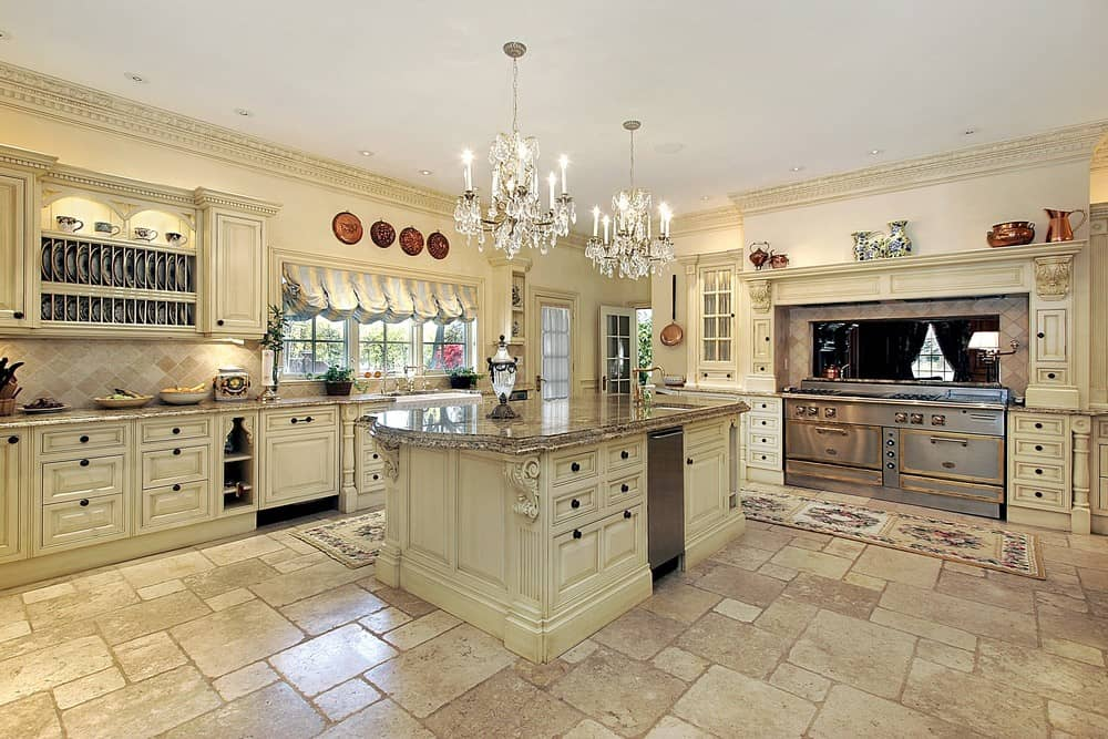 Large Country Kitchen With Tile Floor