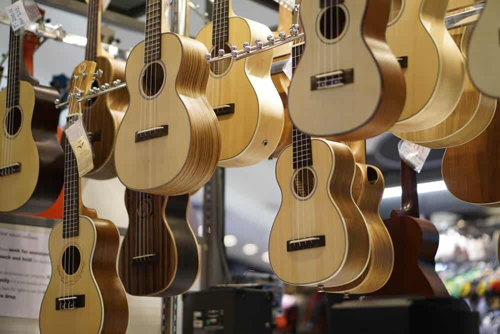 Wooden acoustic guitars.
