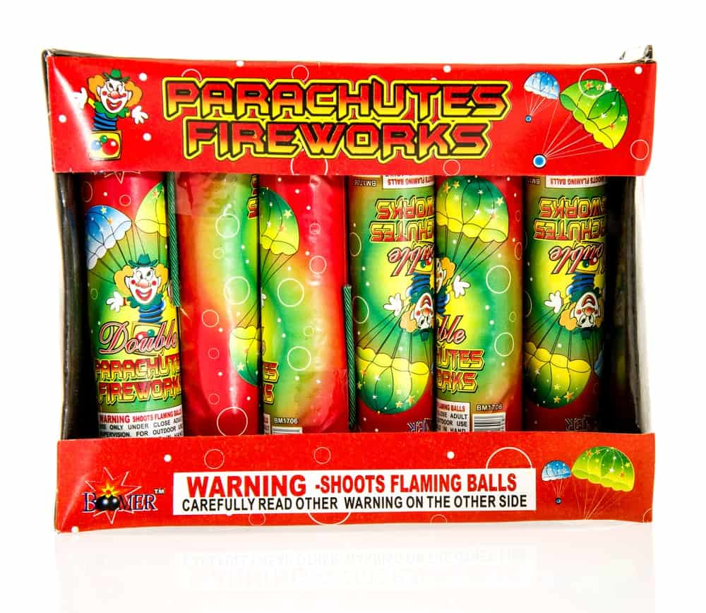 Parachute fireworks still on an unopened bag for sale.