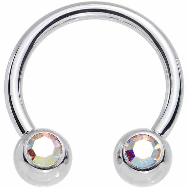 "14 Gauge 1/2"" Aurora Gem Horseshoe Circular Barbell"