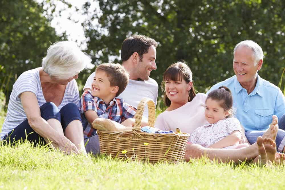 A large family having a picnic on the park.