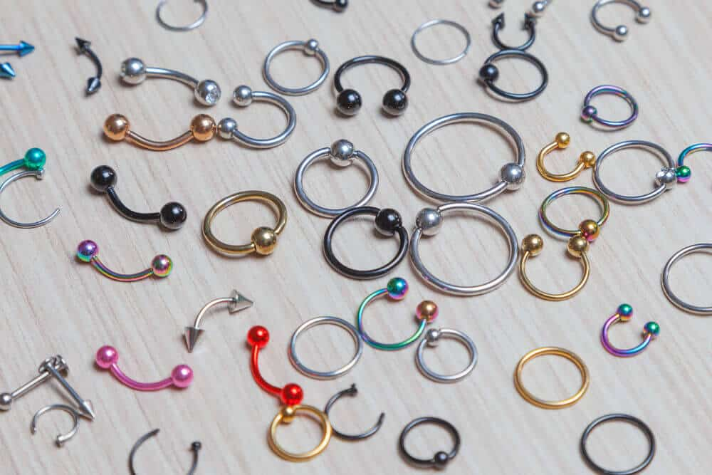 Lip jewelries of different styles, sizes and colors.
