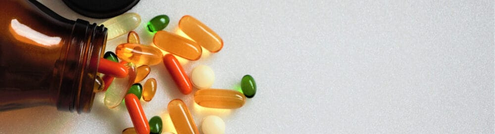 Multivitamins of different colors.