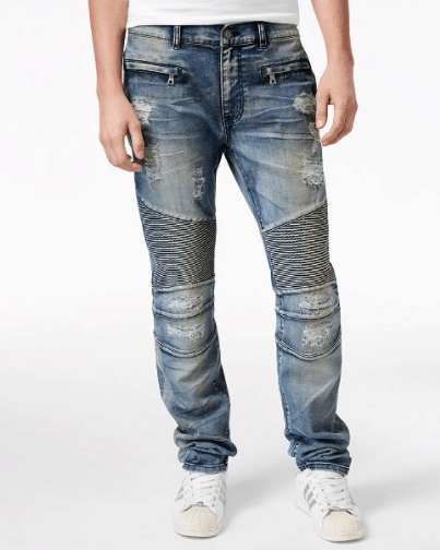 Men's Causeway Slim-Fit Moto Jeans