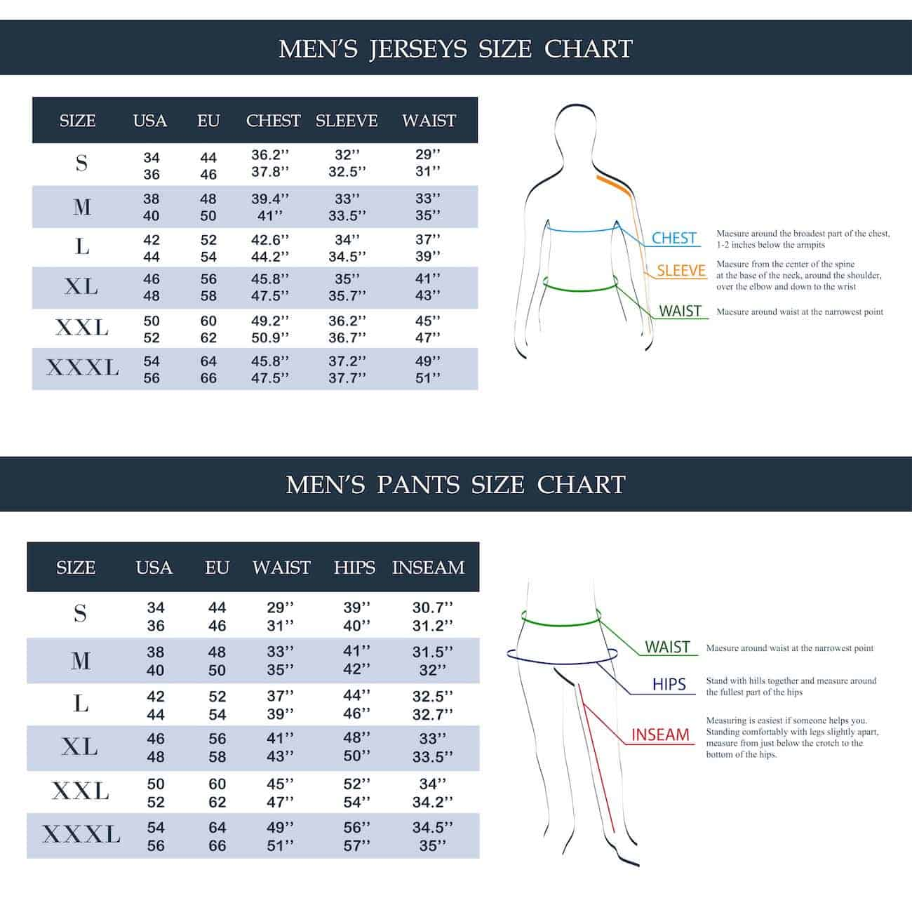 Chart setting out mens' pant sizes