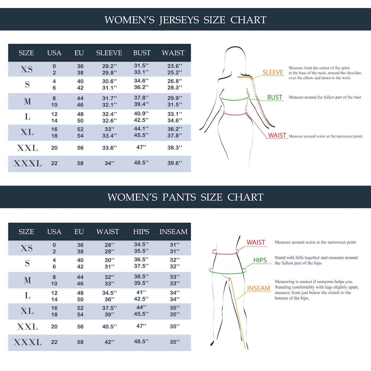 Chart setting out womens' pant sizes