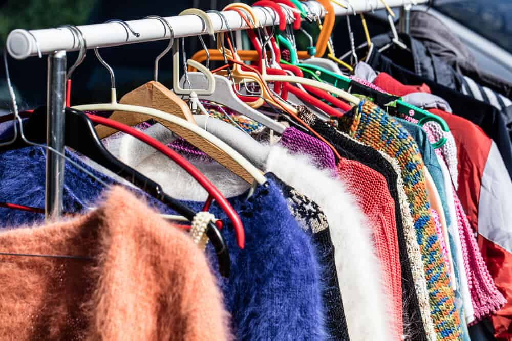 Second hand clothing of different styles and colors.